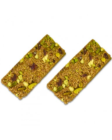 "Pasteli with sesame seeds, honey, Aegina pistachio nuts and cinnamon ""Melichio"" 45gr"