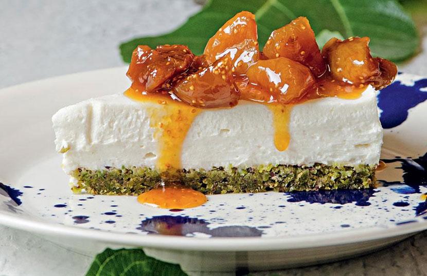 """Greek cheesecake with Aegina pistachios and """"kouroupa"""" (Cretan xynomyzithra) by Stelios Parliaros"""